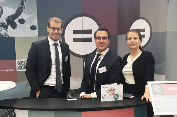 PHH Rechtsanwälte mit Wolfgang Guggenberger, Rainer Kaspar und Annika Wolf beim Jungunternehmertag.