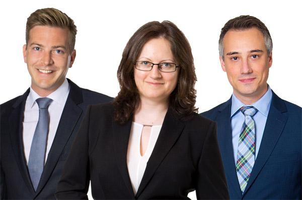 Mag. Patrick Andrieu, Mag. Veronika Seronova und MMag. Stefan Adametz, LL.M., MBA von Fellner Wratzfeld & Partner