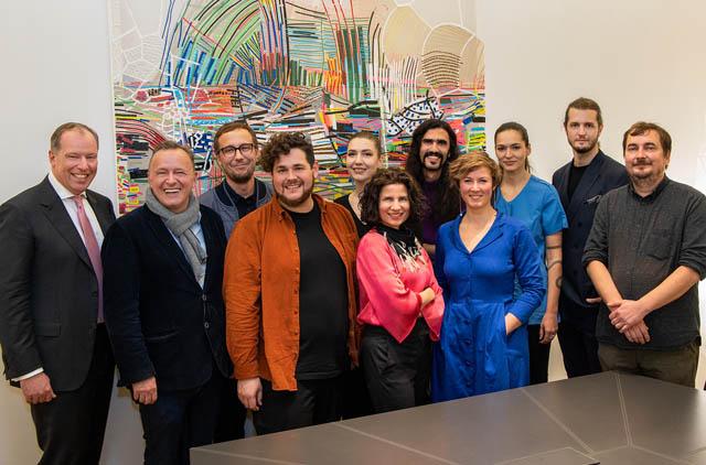 fwp Partner Markus Fellner, Direktor der Landesgalerie Niederösterreich in Krems Christian Bauer, Ausstellungskurator