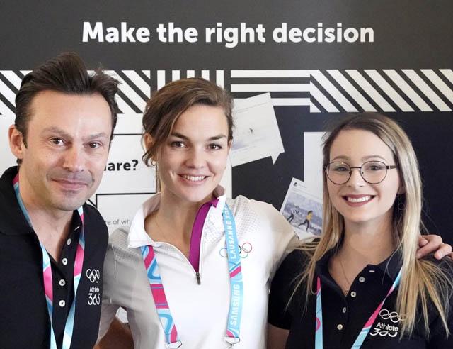 Severin Moritzer, Laura Schoch (IOC) und Julia Klaming