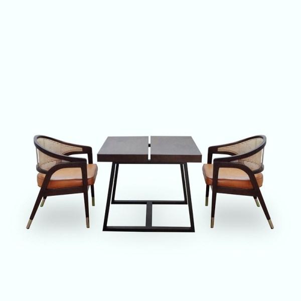 Ganis Dining Set Material Teak Wood Rattan Brass Leather Cushion Rustic Color