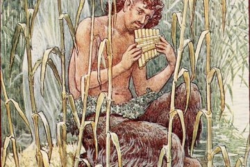 Pan sitting by the water playing his pipes, near a nymph