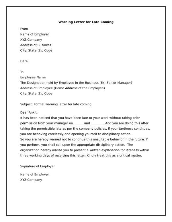 How To Write A Warning Letter Employee For Late Coming ...