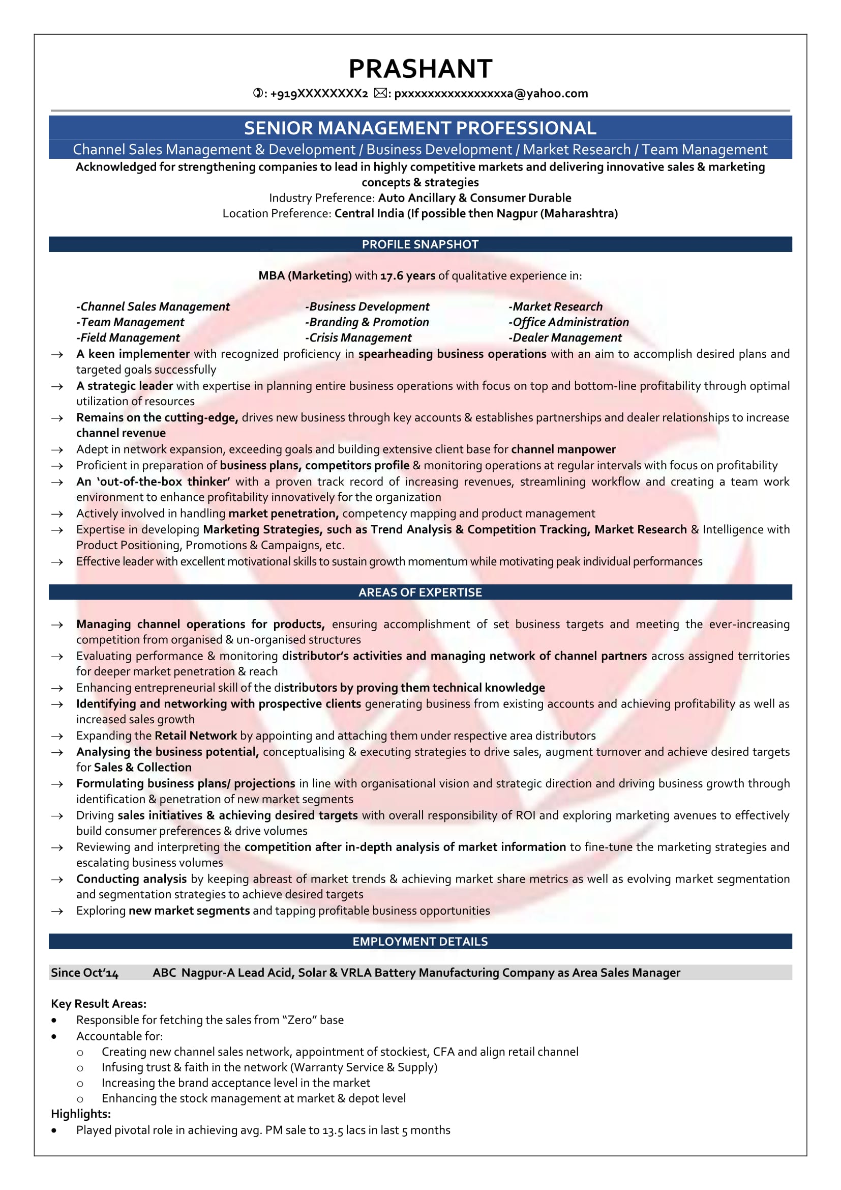 Area Sales Manager Sample Resumes Download Resume Format