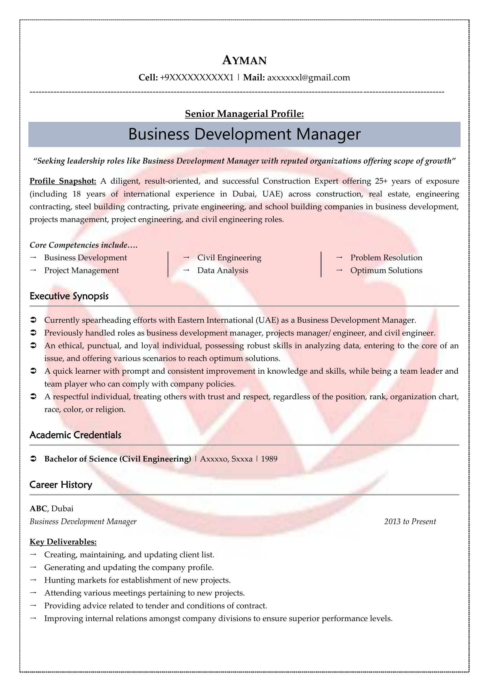 Business Development Sample Resumes Download Resume