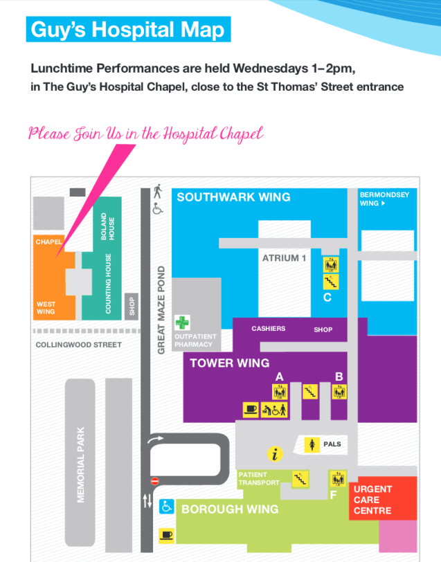 Guy's Hospital Free concerts location map