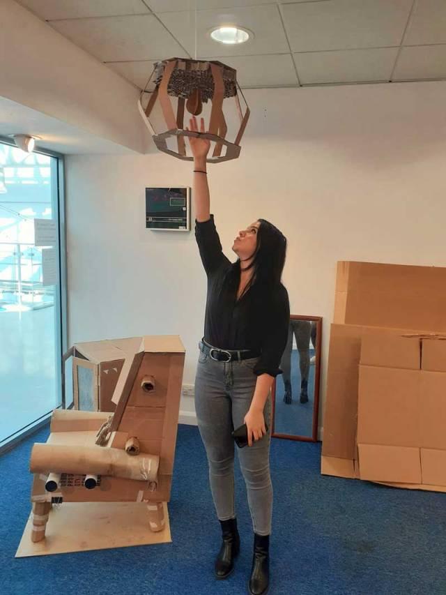 Eren with her chandelier
