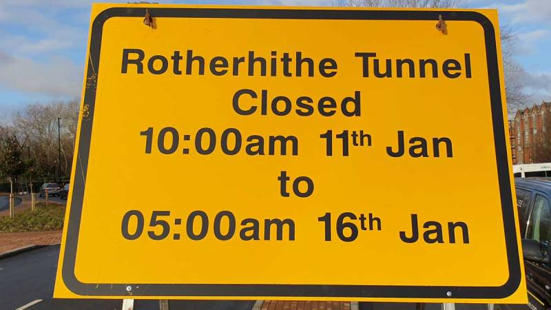 Rotherhithe tunnel temporary closure 11th-16th January 2021