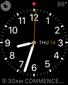 Apple watch displaying time