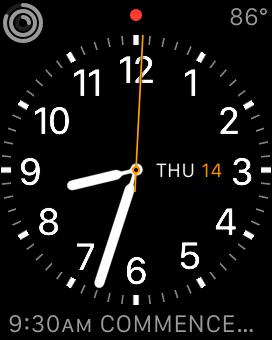 Apple watch displaying time