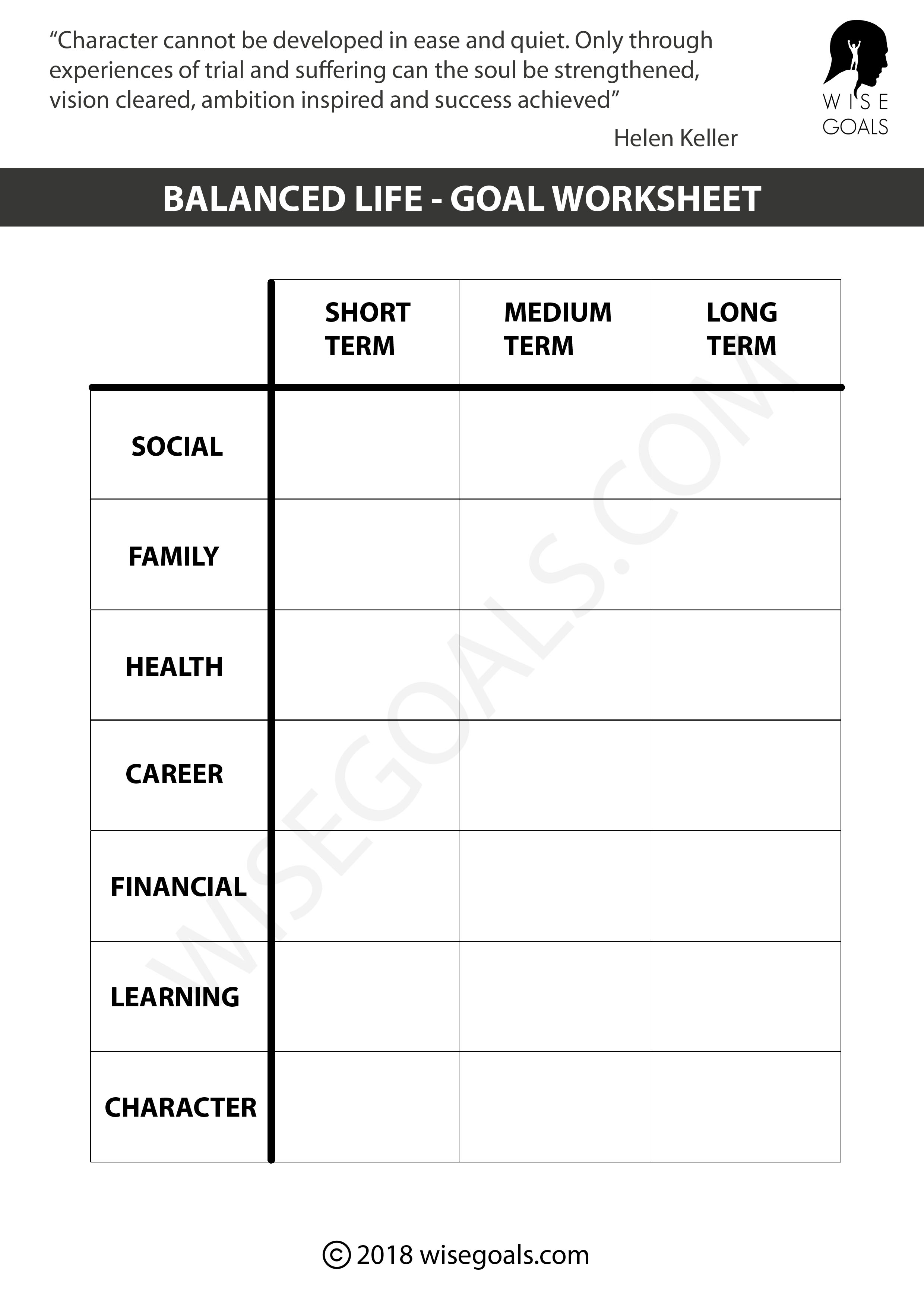 5 Personal Goal Setting Worksheets Printable