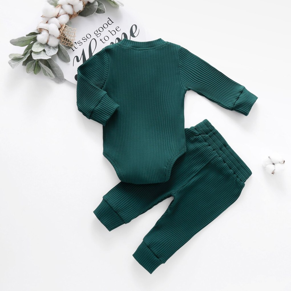Baby Solid Clothes Long Sleeve Romper and Pants Set