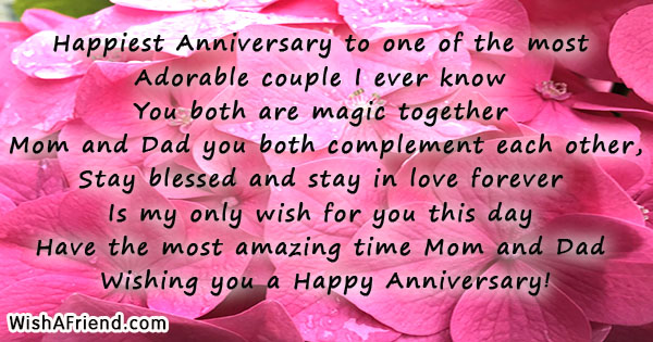 Happiest Anniversary To One Of The Anniversary Message For Parents