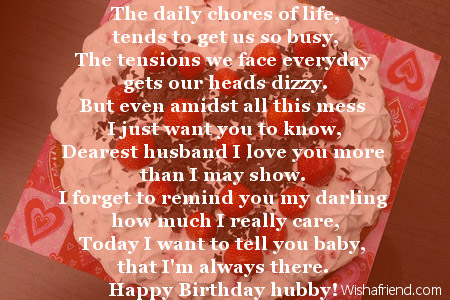 The Daily Chores Of Life Husband Birthday Poem