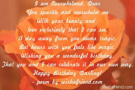 I Am Overwhelmed Dear Girlfriend Birthday Poem