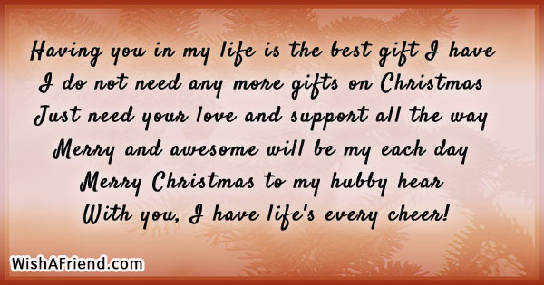 Having You In My Life Is Christmas Message For Husband
