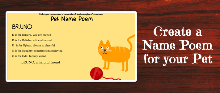 Pets Name Poem Make An Acrostic Name Poem For Your Pet