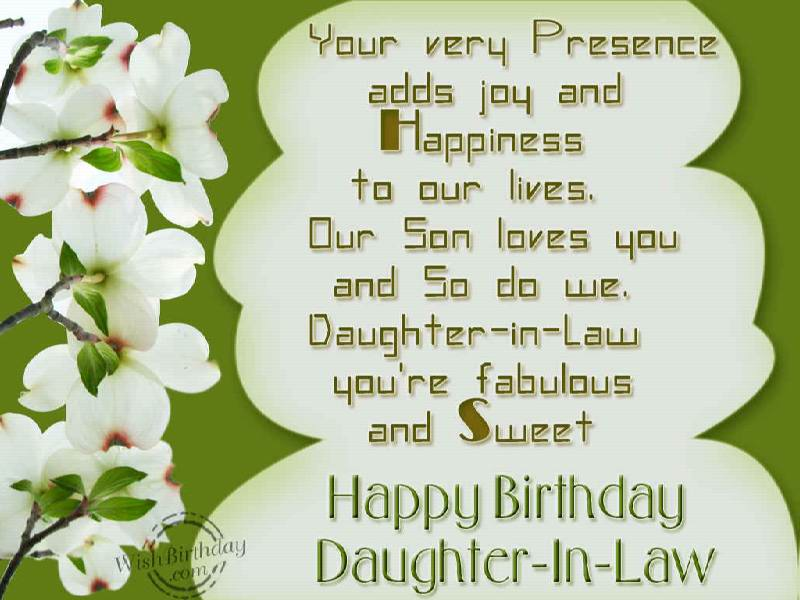 Happy Birthday My Sweet Daughter Law