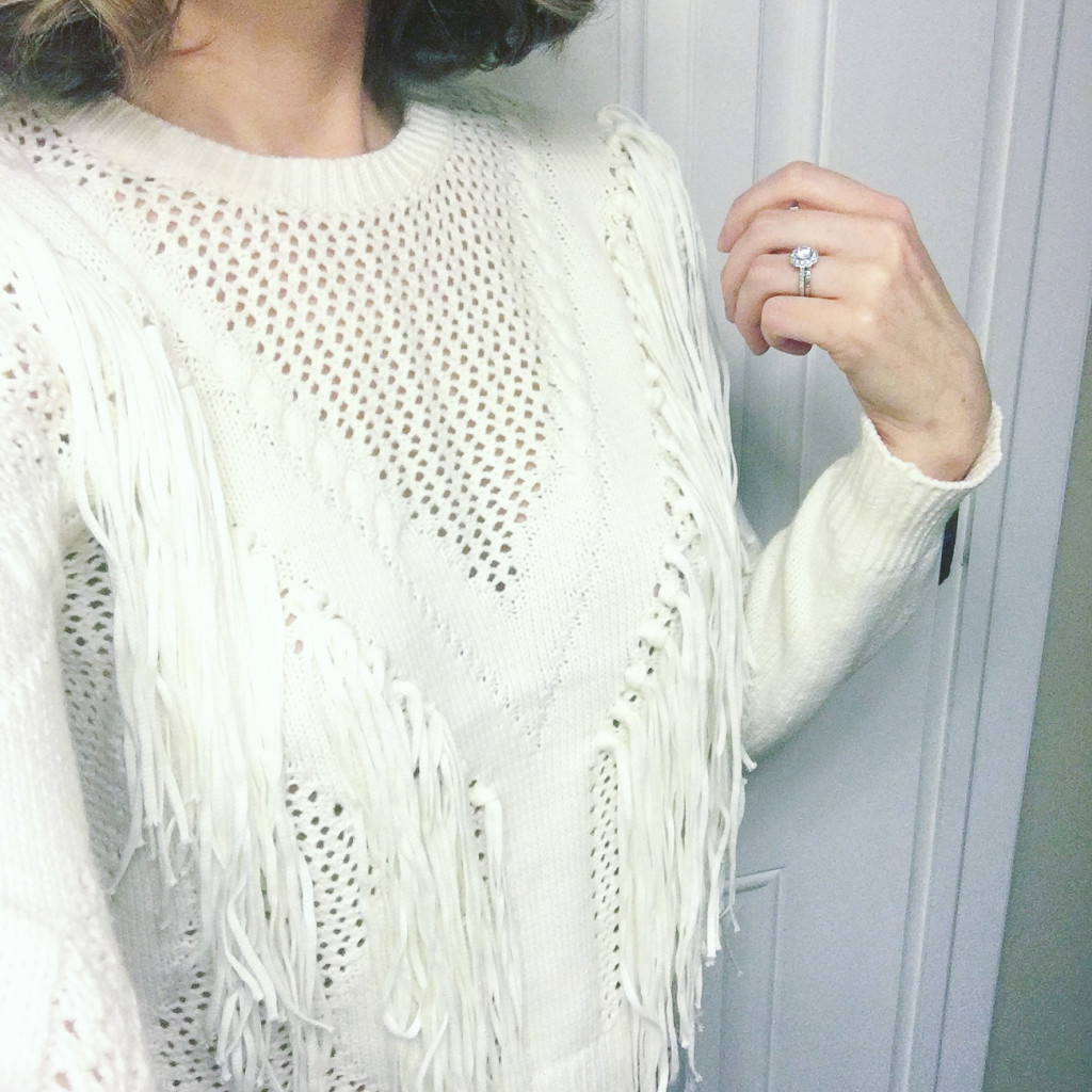 cream fringe sweater