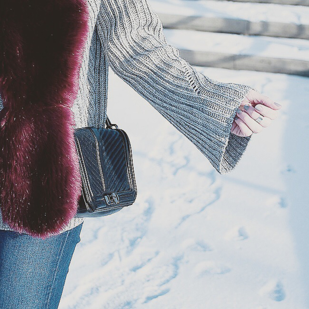 oversized sweater and burgundy fur stole