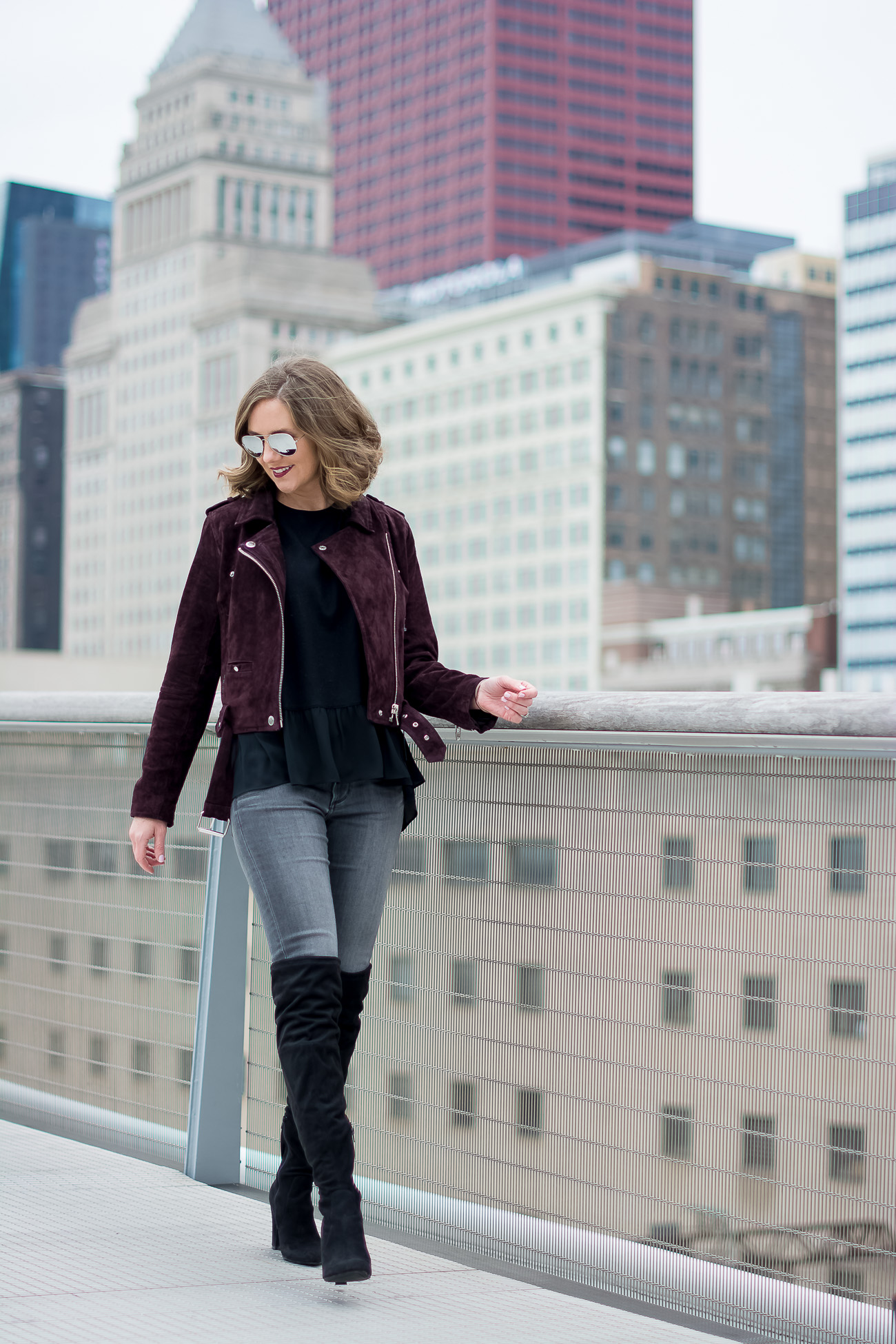 Blank NYC Suede Moto Jacket, Chicago skyline, The Art Institute, Black over the knee boots, black ruffle peplum top