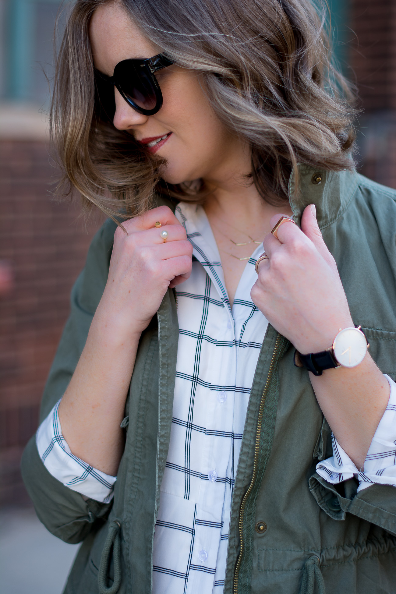 cargo-jacket-black-and-white-grid-print-delicate-jewelry