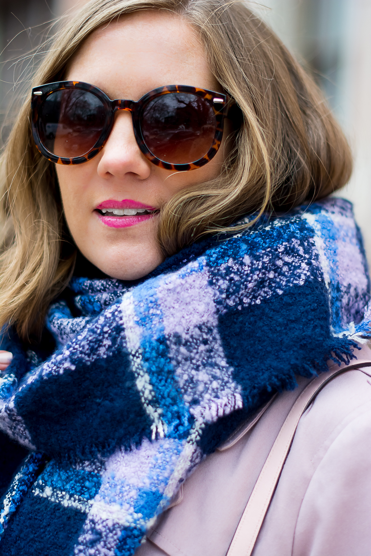 plaid scarf, dressing for spring in chicago