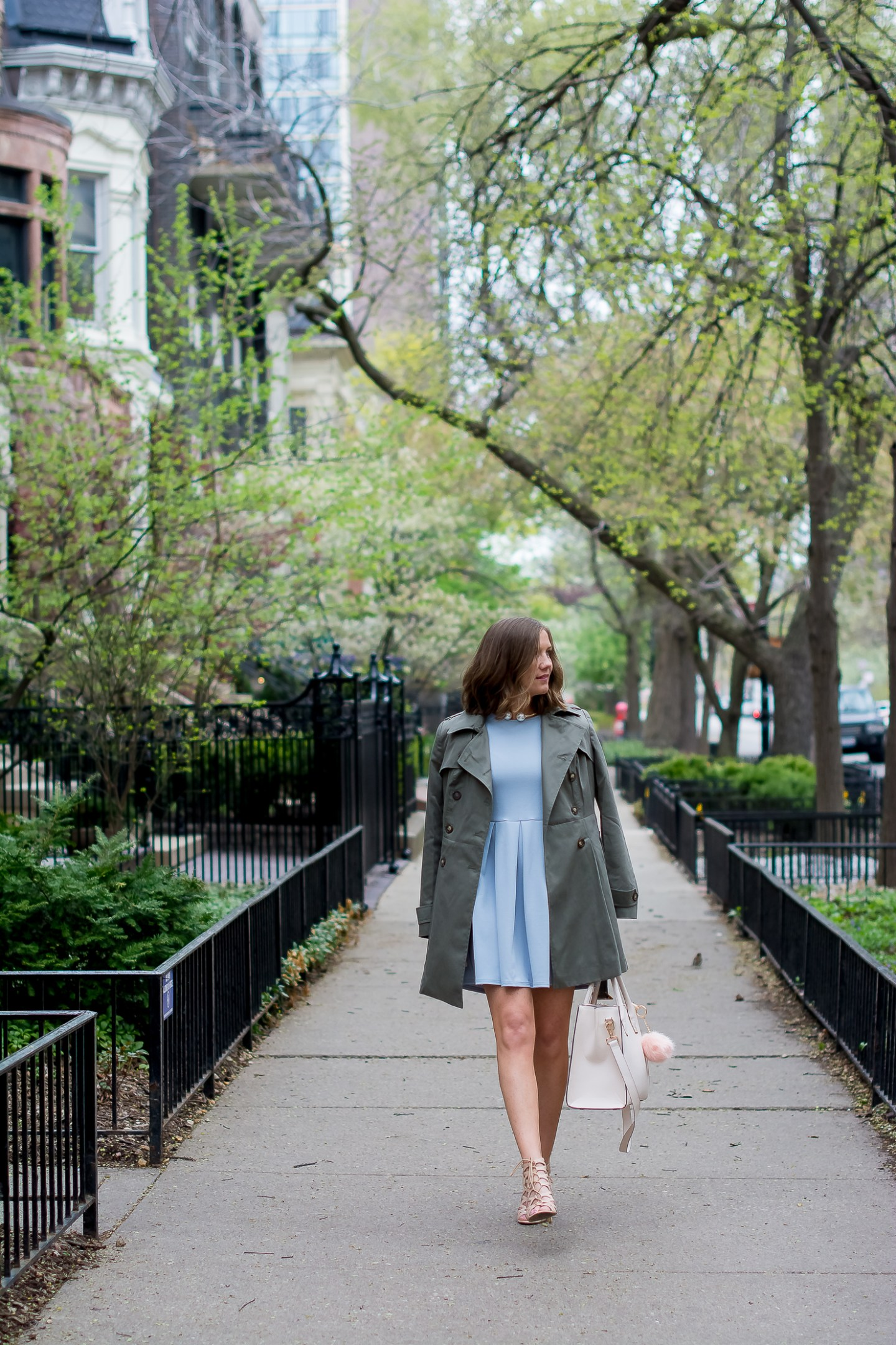 asos-skater-trench-boohoo-cold-shoulder-skater-dress-h&m-blush-tote-blush-fur-bag-pompom-nude-lace-up-sandals-spring-in-chicago