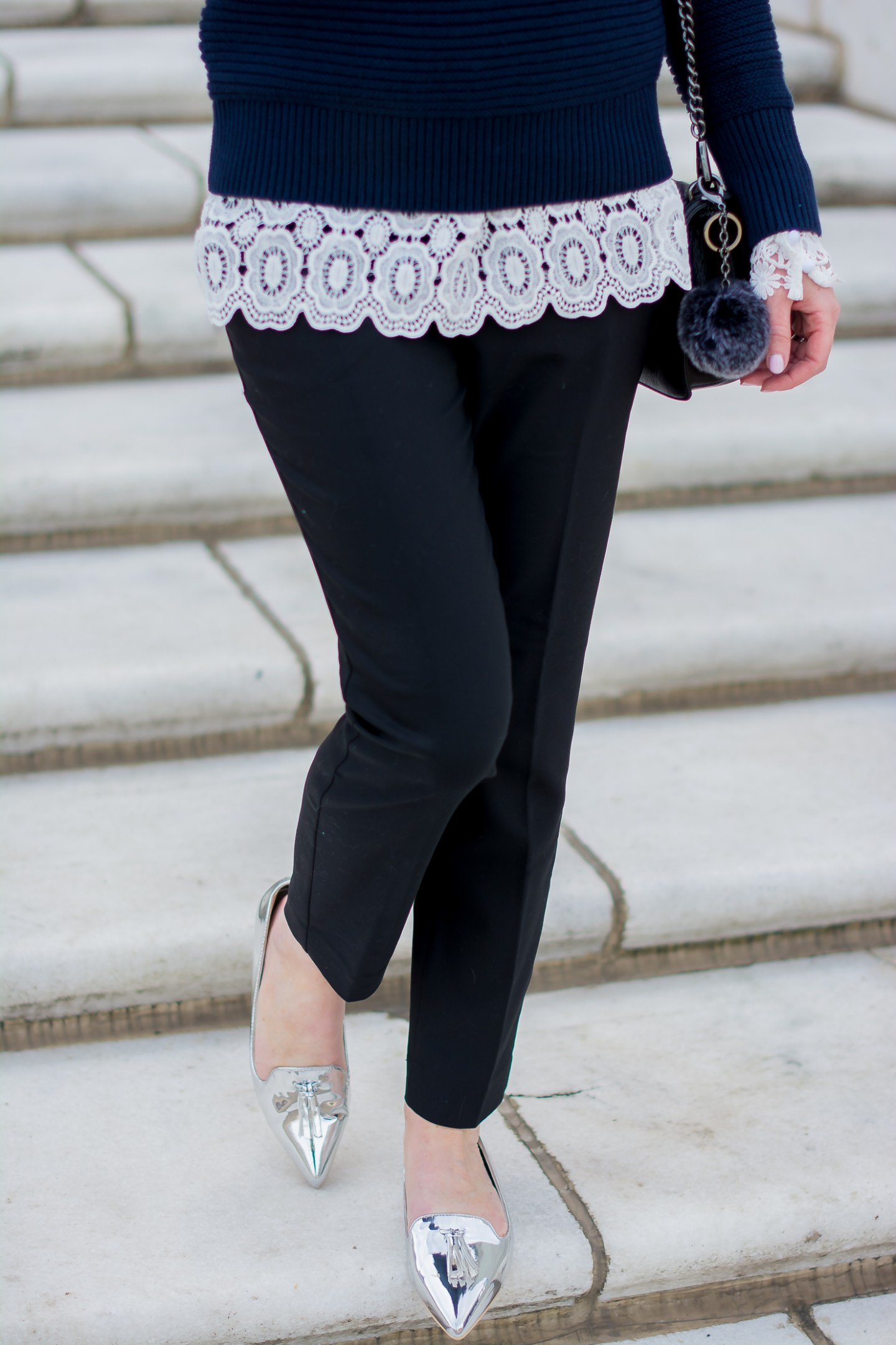 banana-republic-ruffle-shoulder-sweater-shein-lace-top-black-express-ankle-pants-asos-silver-tassel-loafers-12
