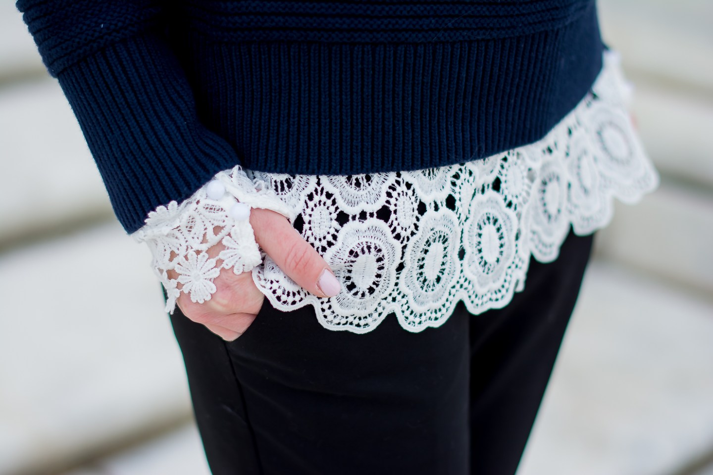 banana-republic-ruffle-shoulder-sweater-shein-lace-top-black-express-ankle-pants-office-appropriate-lace-and-ruffles