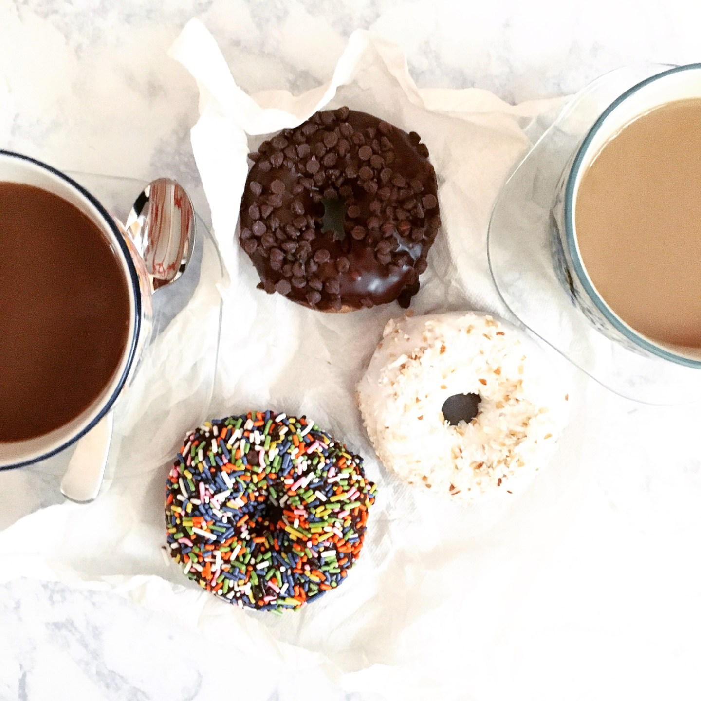 sprinkled donuts and coffee