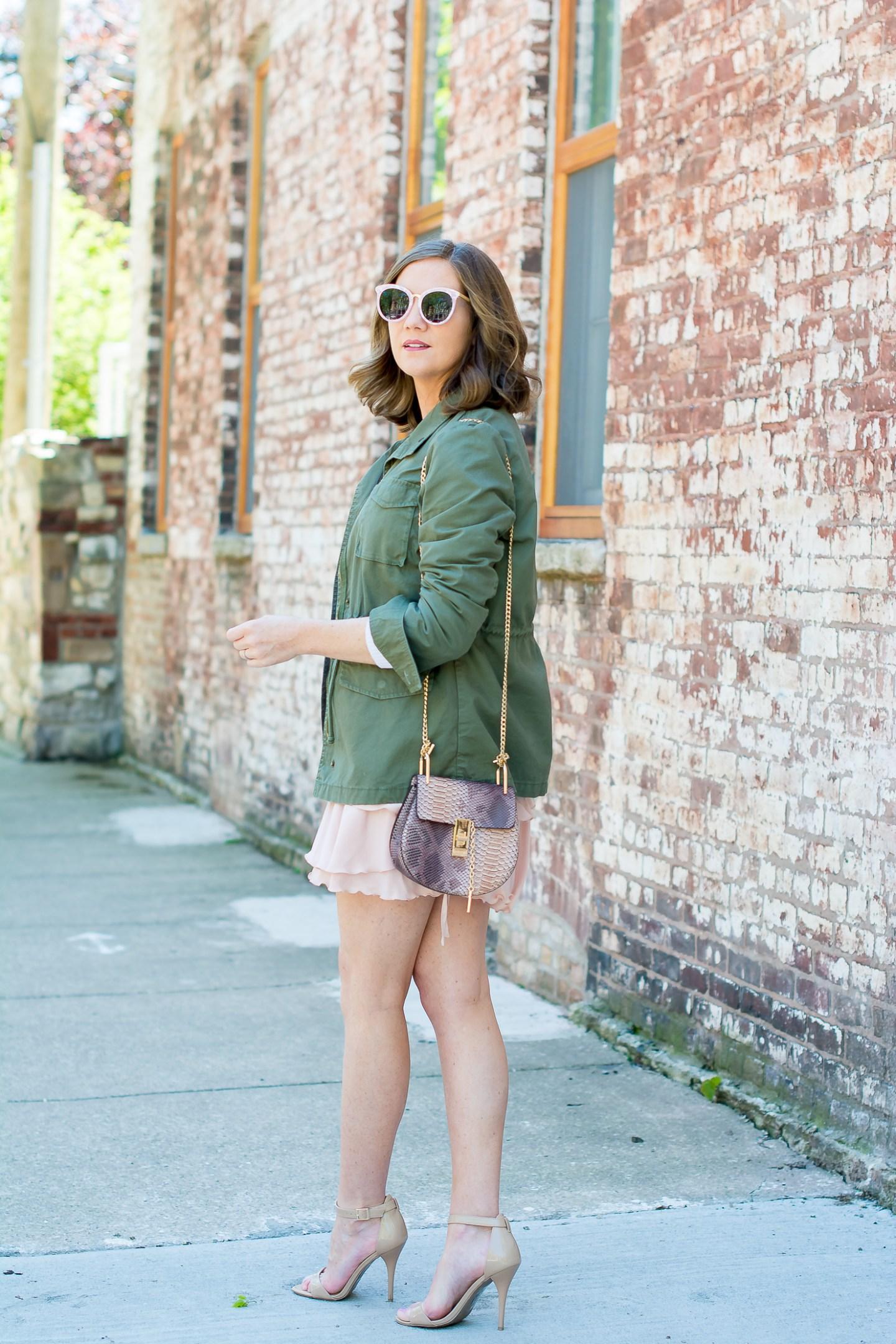utilitarian-ruffles-who-what-wear-for-target-ruffled-skirt-white-sweater-old-navy-utility-jacket-forever-21-pink-sunglasses-chloe-drew-dupe-snakeskin-print