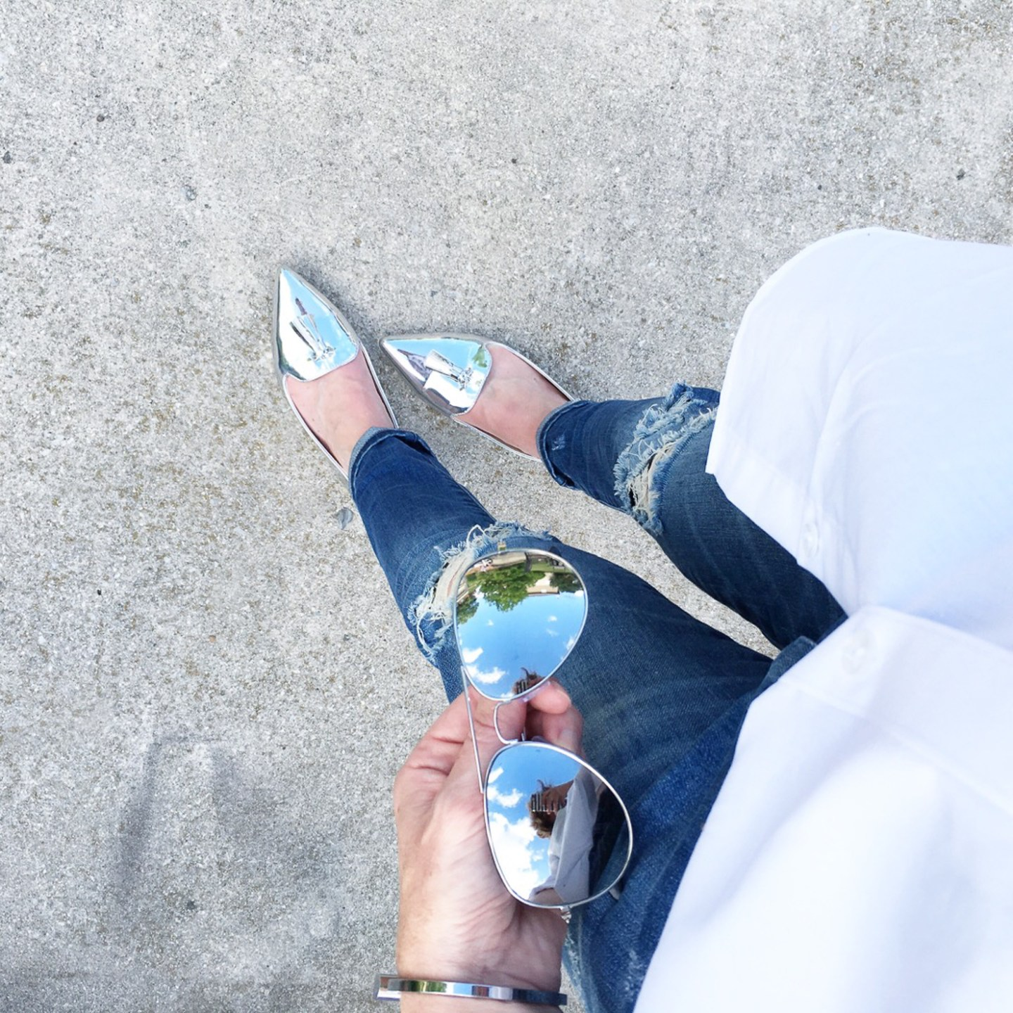 silver-pointed-tassel-loafers-from-where-I-stand-mirrored-aviators