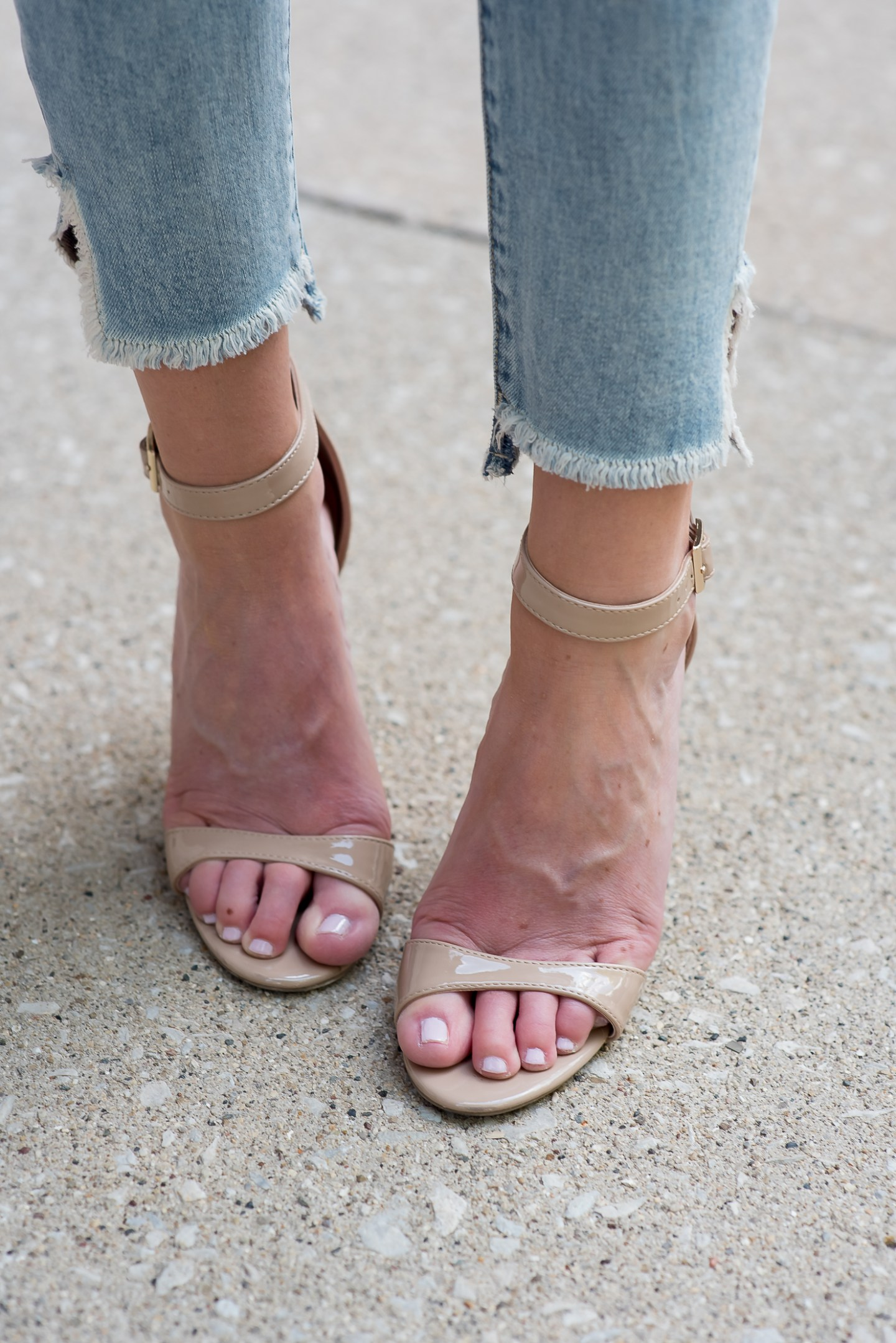 treasure and bond raw uneven hem jeans and nude heels