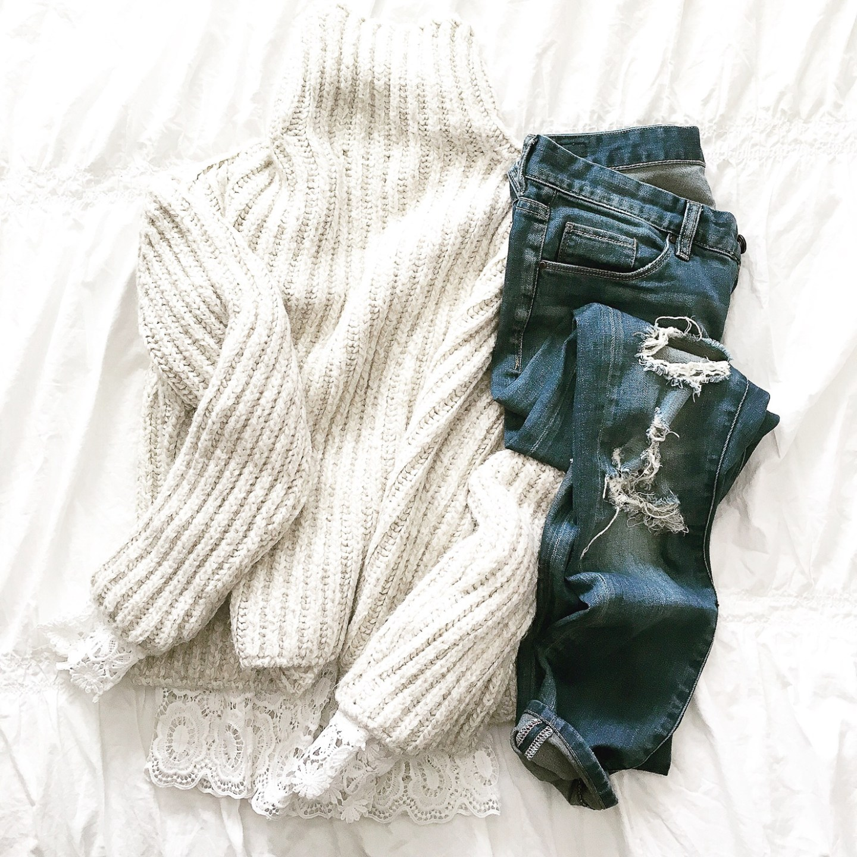 instagram-cozy-flatlay-chunk-knit-denim-and-lace