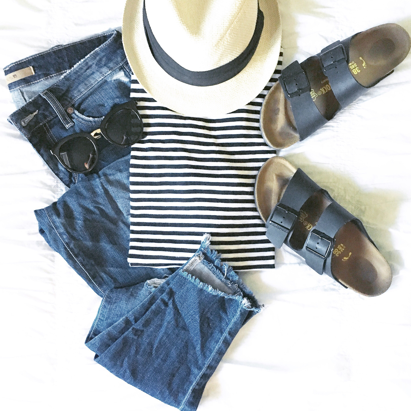 my favorite outfits for summer, Instagram, life lately, casual flatlay stripes denim birkenstocks- edora