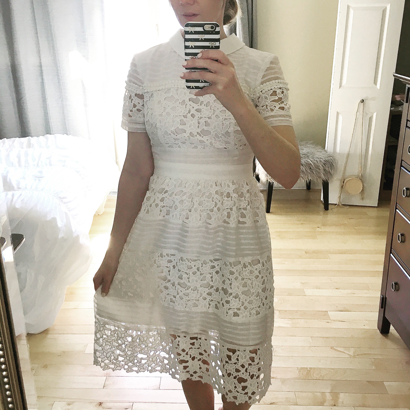 my favorite outfits for summer, Instagram, life lately, lace midi dress with collar