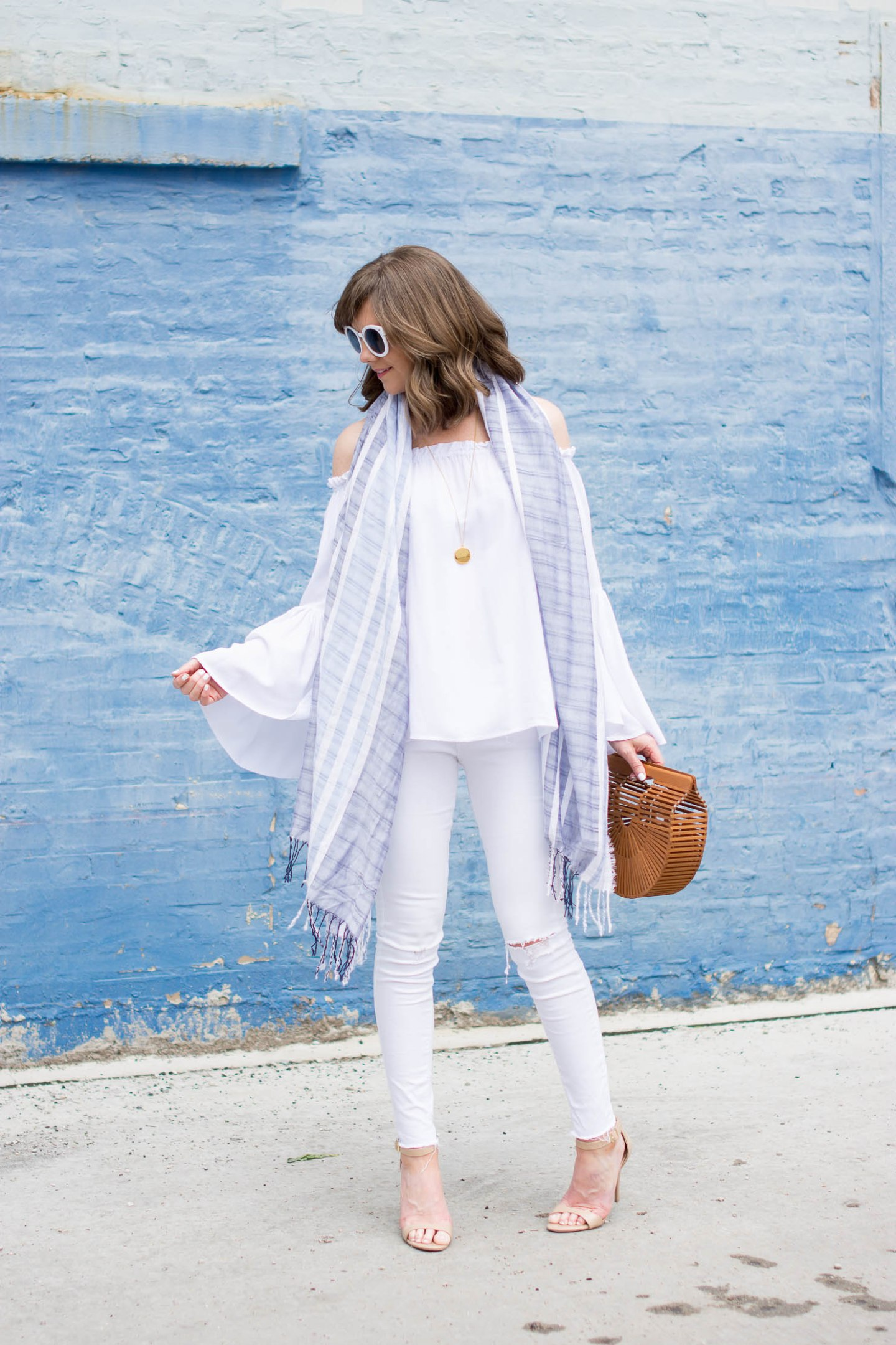 off the shoulder top you should own, white off the shoulder bell sleeve blouse, under $20, all white outfit, white and blue outfit, style on a budget, flowy tops