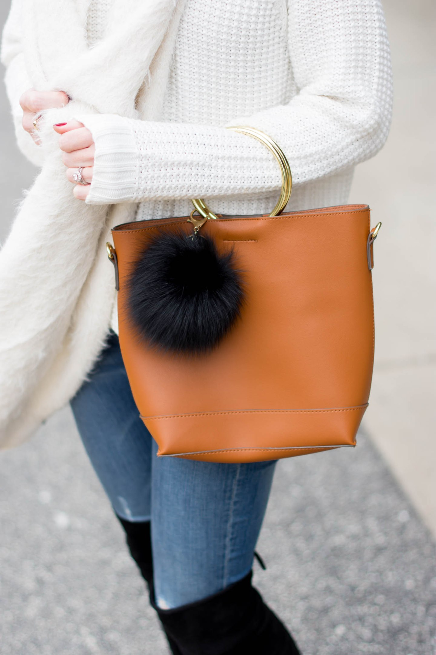 cozy accessories to gift this holiday season, shopko fashion, the coziest under $20 scarf, ring handle bag with fur charm, winter fashion, holiday 2017