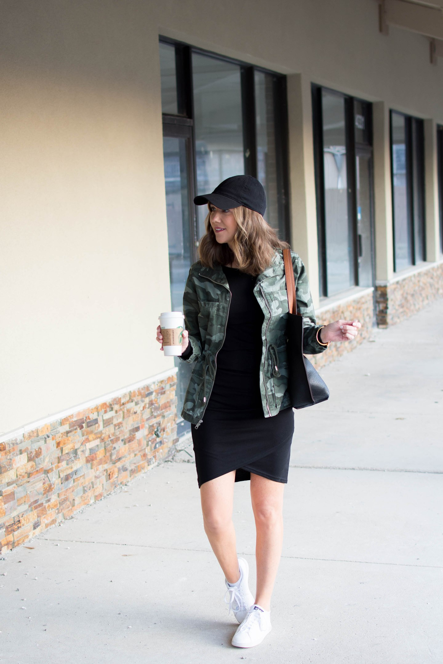 old navy camo field jacket, leith wrap dress, the dress that works for any body type, how to style a dress casually for spring weather, how to wear a dress with sneakers