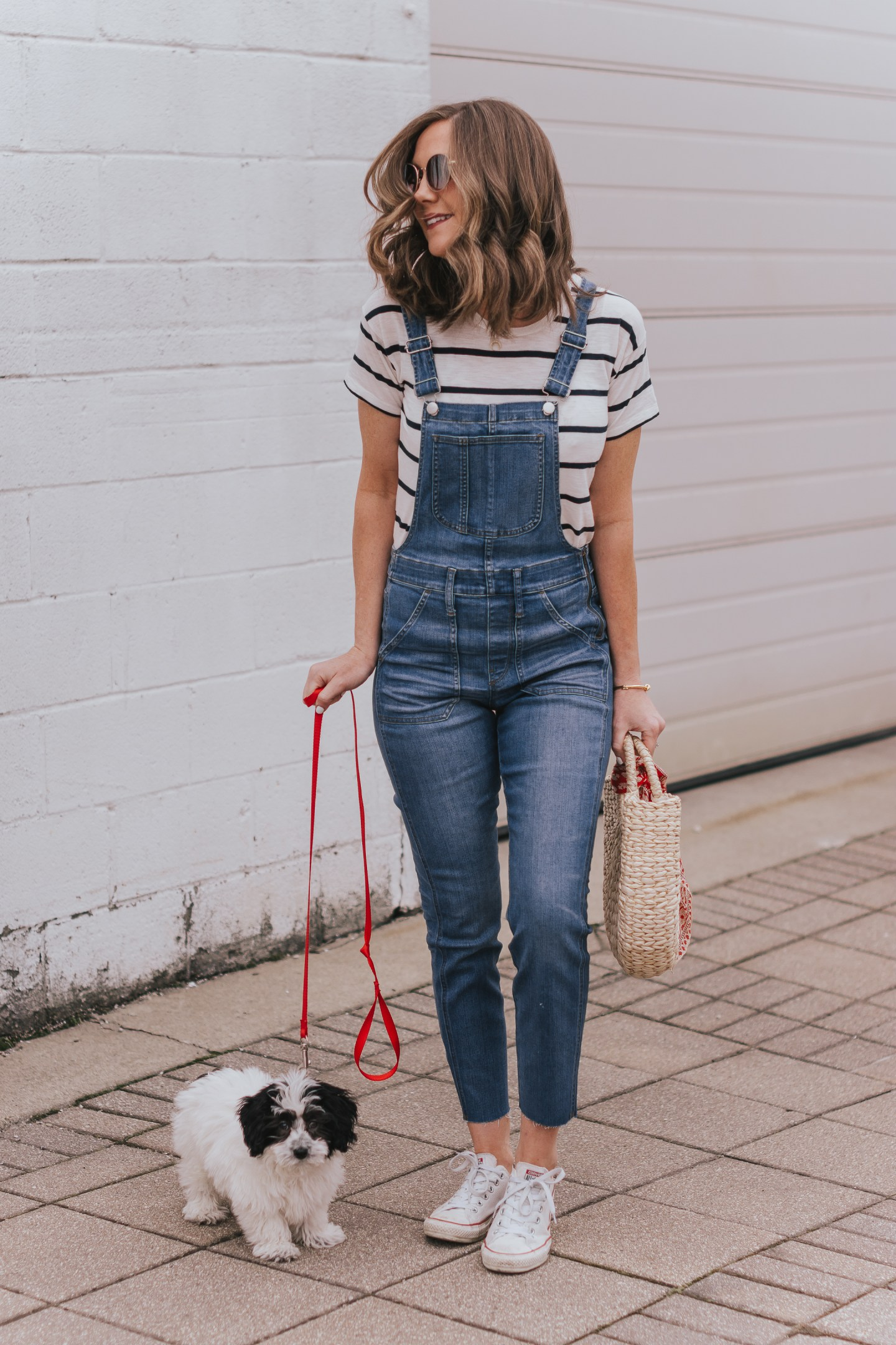 Dexter mini aussie doodle, styling a bandana scarf, madewell skinny overalls, styling overalls at any age, casual overall outfit, easy and cute mom outfit, two ways to style a bandana scarf