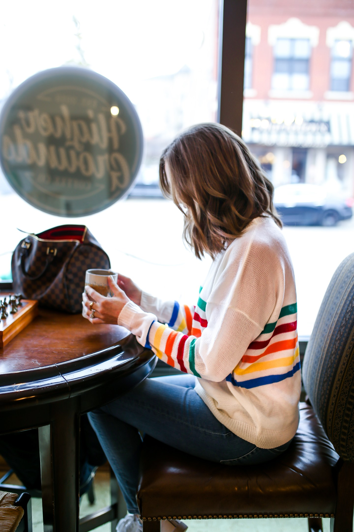 the importance of taking me time as a mom, rainbow striped sweater, cute casual weekend look, higher grounds coffee maintaining friendships, the importance of friendships in a womans life