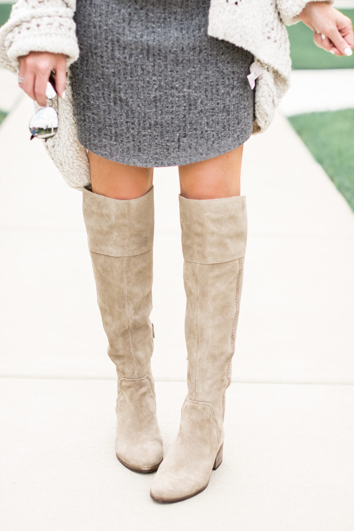 how to wear over the knee boots with a mini dress, mom fashion, outfit ideas for moms, casual chic outfit, mom style