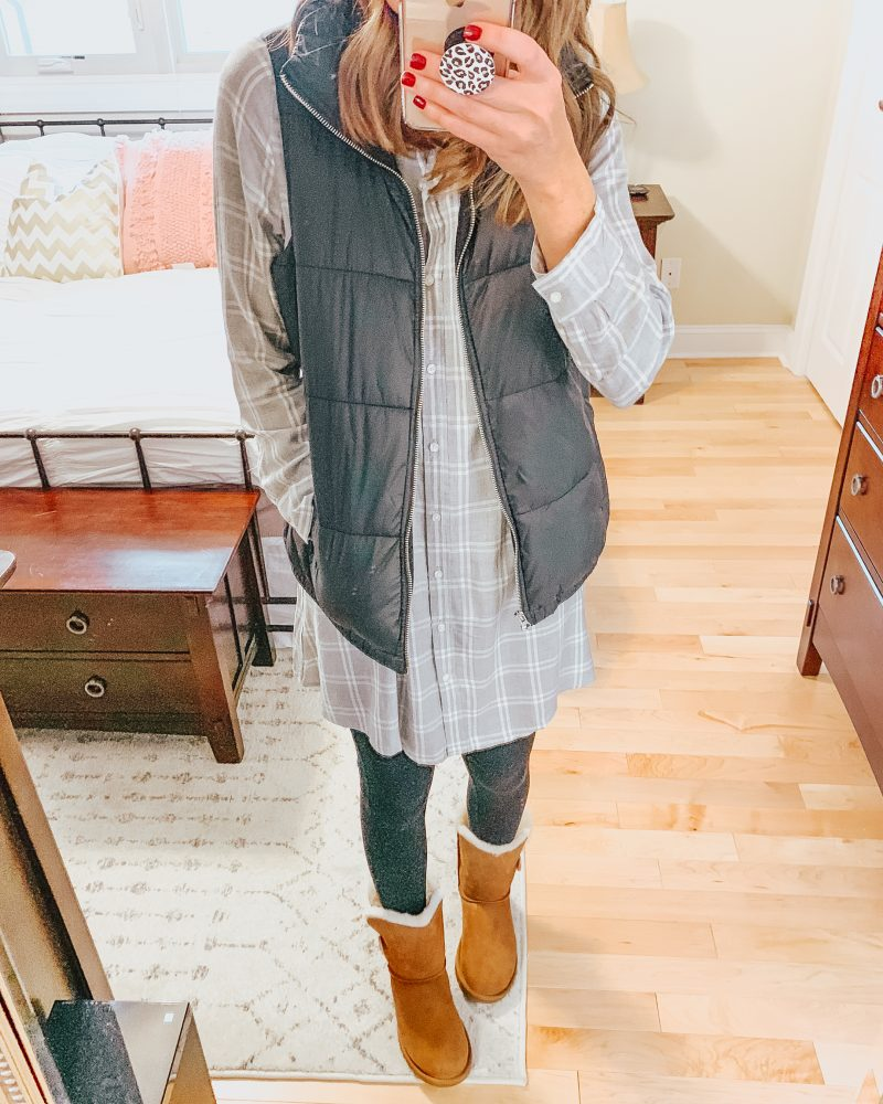 Ways to Style Leggings, style-a-shirt-dress-for-winter-3