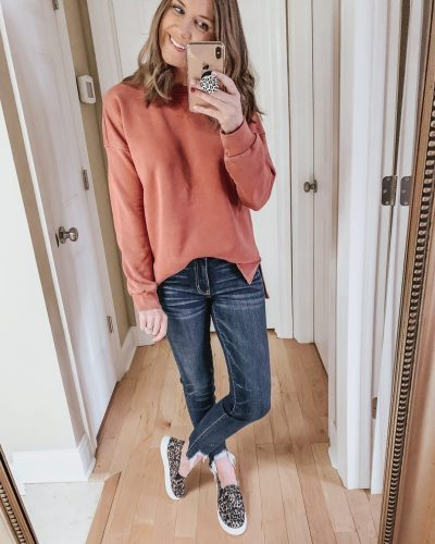 Casual spring fashion finds at Target, Target fashion, Spring Fashion, pink tunic sweatshirt
