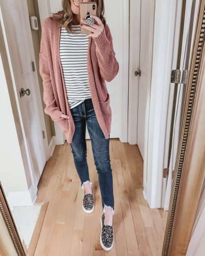 Casual spring fashion finds at Target, Target fashion, Spring Fashion, pink cardigan, leopard slip on sneakers