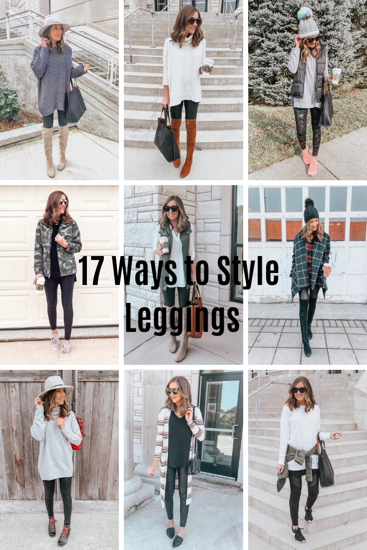 Spanx Faux Leather Leggings, how to style leggings, ways to style leggings, leggings outfits