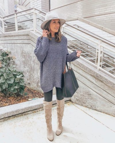 Ways to Style Leggings, oversized-sweater-leggings-outfit-over-the-knee-boots-spanx-faux-leather-chunky-sweater
