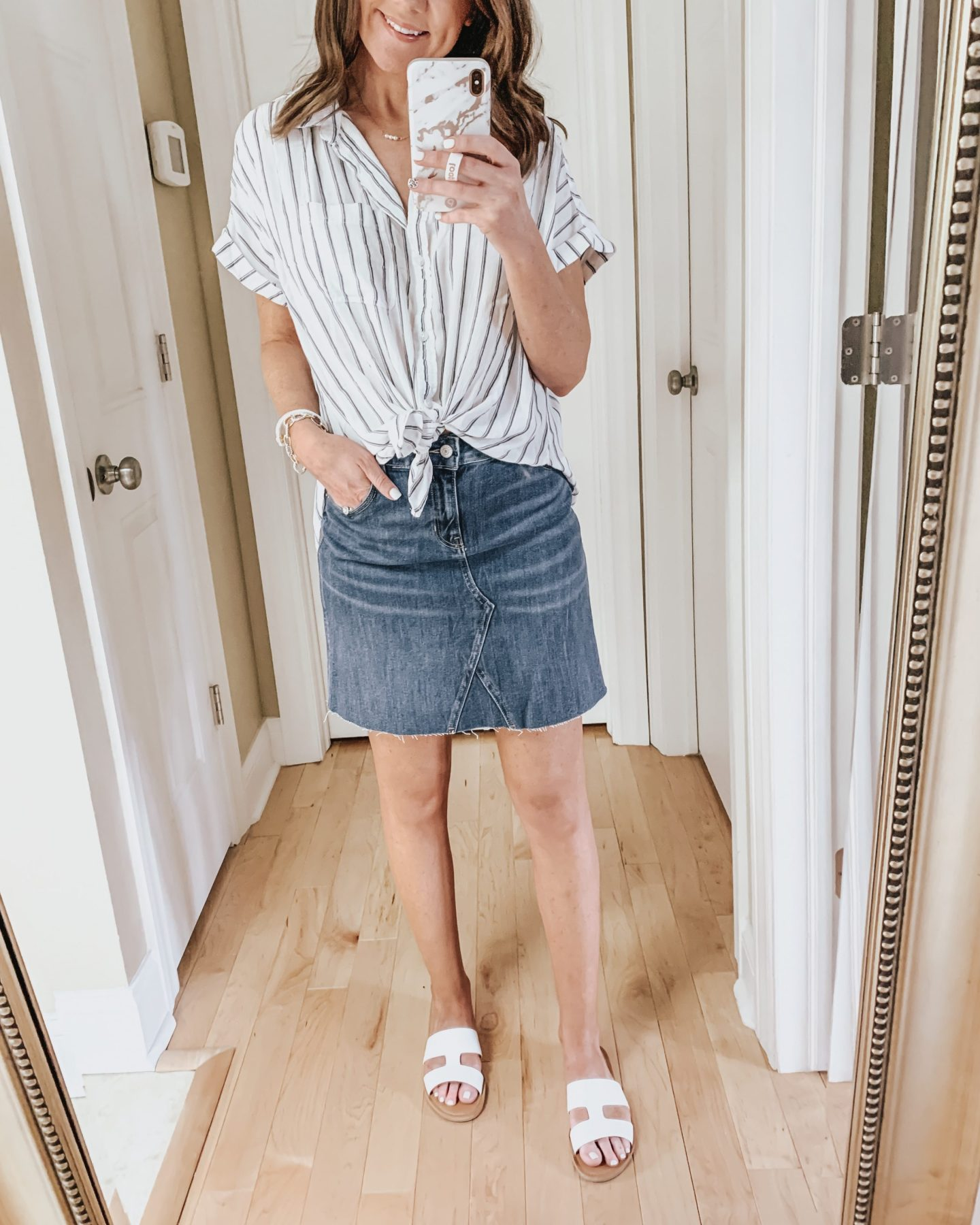 six ways to style a skirt, tie front top, denim skirt, Old Navy
