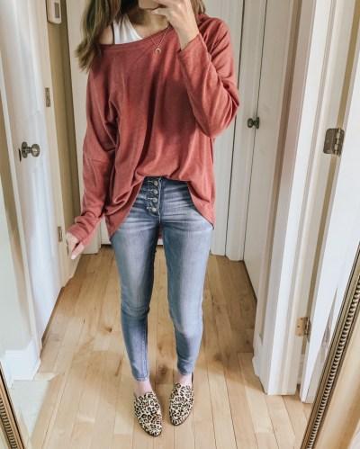 casual wardrobe basics, amazon fashion, leopard flats, hi low sweater, casual outfit